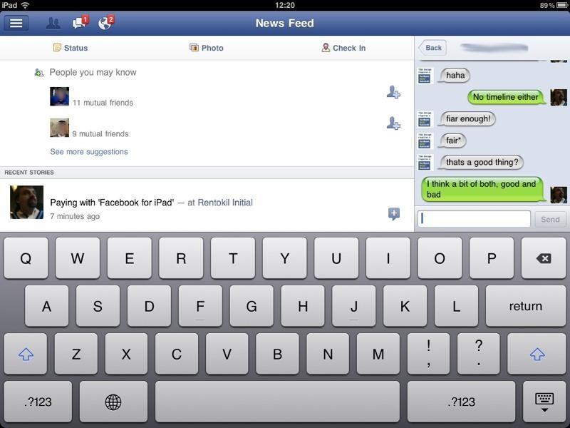 Facebook for iPad   harlekwin