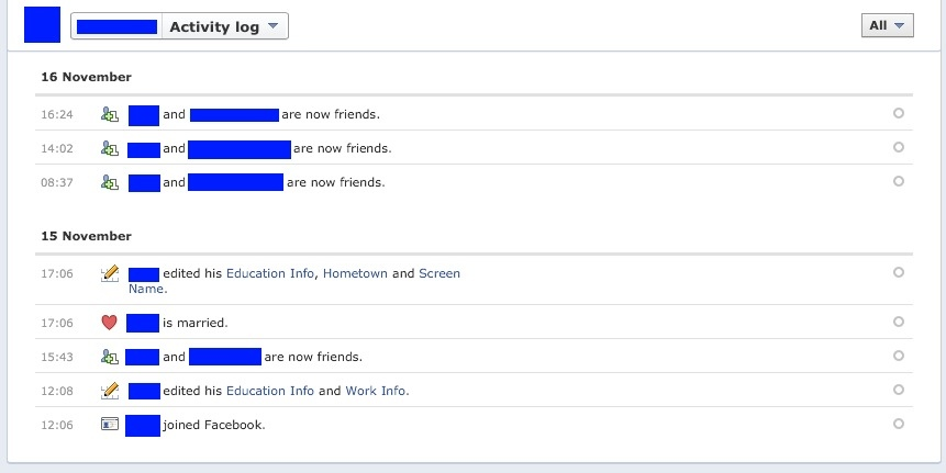 how to clear activity log in facebook